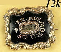 Antique Victorian Mourning Brooch, Enamel on 12k Gold - Hair locket, c. 1840s, ID'd Engraving