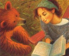'A Story for Bear' by Dennis Haseley  When a young bear finds a scrap of an old letter, he is so curious about the mysterious marks that he searches out their source - a cabin in the woods. There he meets a young woman and is mesmerized by the sound of her voice. Though he cannot understand her words, he returns every day to hear the woman's stories of sailors, goddesses, and far-off lands