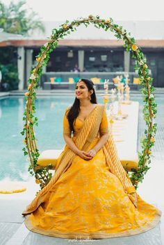 A beaming bride shining in this pretty Sabyasachi lehenga perfect for her wedding ceremony! // yellow modern and simple wedding lehenga for brides with embroidery Desi Wedding Decor, Wedding Stage Decorations, Wedding Centerpieces, Wedding Bouquets, Church Decorations, Sunflower Centerpieces, Wedding Arrangements, Centerpiece Ideas, Table Centerpieces