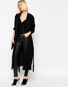 Selected Max Longline Duster with Self Tie