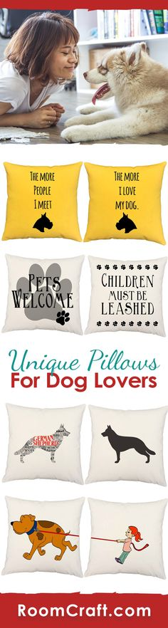 Dogs are man's best friend! Show your loyal pet how much you care with a dog throw pillow set. Each doggy design is offered in multiple fabrics, colors, and sizes making them a great addition to your space. Our quality puppy pillow covers are made to order in the USA and feature 3 wooden buttons on the back for closure. Choose your favorite and create a truly unique pillow set. #roomcraft
