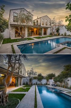 This yard was transformed into a private oasis with a 50-year-old coastal live oak tree, a Balinese water fountain, 60-year-old Manzanilla olive trees, and a resort-style quartz pool. Live Oak Trees, Under Stairs, 50 Years Old, Resort Style, Nook, Oasis, Swimming Pools, Coastal, Spa