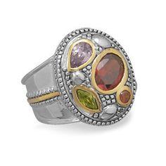 Two Tone Multicolor Cubic Zirconia Ring   SilverStones