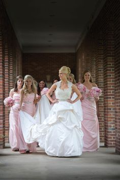"Love the bridesmaid dress colours - ""Beautiful long pink bridesmaids dresses.  Photo by Edmonson Weddings."""