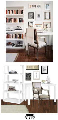 An airy, white office by Lonny Magazine recreated by @audreycdyer for only $1160! #roomRedo #Office #LookforLess