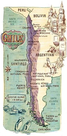 Map of Chile. This country is very indigenous and has many rare animals. The geography of Argentina ranges from a mountainous landscape to jungles. The current population is Some major cities of Argentina is Bariloche, Mar del Plata, Mendoza, and Cordoba. Columbia South America, South America Travel, Vintage Maps, Vintage Travel, Travel Maps, Travel Posters, Map Globe, Old Maps, Map Design