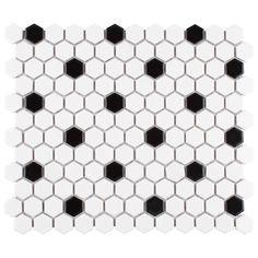 Mosaic Wall Tiles, Cement Tiles, Marble Mosaic, Tile Projects, Black Dots, Matte Black, Tile Patterns, Retro Design, Downstairs Bathroom