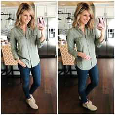 Shop the Look from Living in Yellow on ShopStyleMilitary Shirt + Jegging + Booties Weekly Outfits, Fall Outfits, Casual Outfits, Cute Outfits, Fashion Outfits, Fall Fashion, Office Outfits, Mom Fashion, Fashion Top