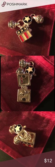 NEW!!  Red, White & Blue Charm Set Great charm for your favorite Republican.  Open the box to find a small elephant.  (See photo) Jewelry