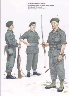 BRITISH ARMY - Far East 1944-45 -1) Colonel Young, Special Service Brigade - 2) Private, 2° Commando - 3) Lieutnant, Special Boat Section