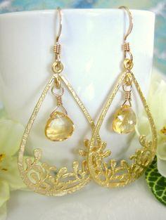 Citrine grass gold tear drop earrings. $45.00, via Etsy.