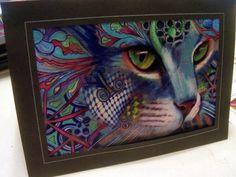 greeting card print of original art- Cat  Zentangle