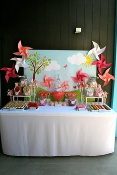 Dessert table at a Pinwheel Themed Baby Shower with Lots of Cute Ideas via Kara's Party Ideas | KarasPartyIdeas.com #Pinwheels
