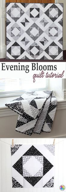 Evening Blooms quilt tutorial by Andy Knowlton of A Bright Corner - she shares a great trick for making a ton of HSTs at a time!