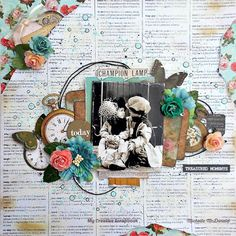 My Creative Scrapbook Kit Club January Limited Edition Kit 2016 Kaisercraft - Treasured Moments Collection Start to Finish Mixed Media Layout Video Tutorial by Michelle McDonald