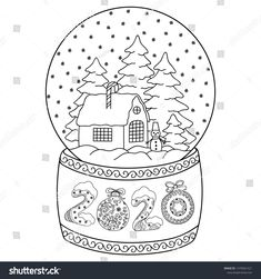 2020 toy glass snow globe house coloring pages printable and coloring book to print for free. Find more coloring pages online for kids and adults of 2020 toy glass snow globe house coloring pages to print. New Year Coloring Pages, House Colouring Pages, Cat Coloring Page, Coloring Pages To Print, Coloring Pages For Kids, Coloring Books, Christmas Worksheets, Christmas Templates, Christmas Snow Globes
