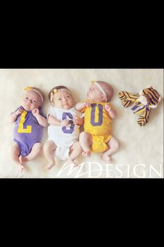or get onesies made with school colors/branding. I am so going to do this with WSU. Baby Boy Photos, Baby Pictures, Triplets, Twins, New Orleans Saints Football, Louisiana State University, Lsu Tigers, School Colors, Baby Kids
