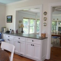 Kitchen Living Rooms Remodeling Boston Kitchen Photos Kitchen Pass Through Design Ideas, Pictures, Remodel, and Decor - Half Wall Kitchen, Kitchen Pass, Kitchen Redo, Living Room Kitchen, New Kitchen, Kitchen Ideas, Awesome Kitchen, Square Kitchen, Kitchen Cabinets