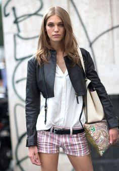 Milan Fashion Week spring 2014, Street style. White shirt, striped Isabel Marant shorts, cropped black leather jacket.