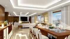 Gran ejemplo de luces lineales reflejos en este proyecto de Suite presidencial con Lumion 7 PRO y Sketchup, por ROA Design Studio 3d, Table, Furniture, Home Decor, Kitchen Design, Lights, Trendy Tree, Architecture, Interiors