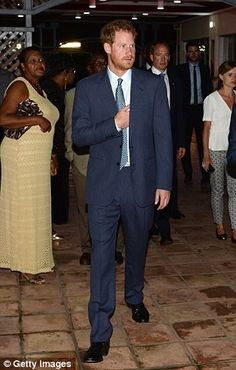 Prince Harry (pictured in Saint Vincent and the Grenadines on Saturday) was stranded after the Navy ship he is travelling on broke down during his tour of the Caribbean
