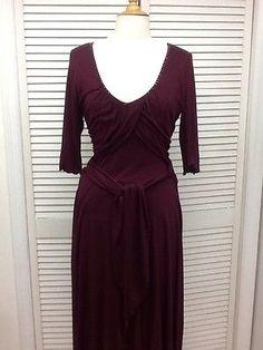 Beautiful Wine Colored 3/4 Sleeve Flowy Dress, Sz. Medium, Intuitions, EUC!