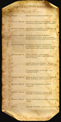 Daily Activity Schedule - Welcome to Camp Half-Blood: The Online World of Rick Riordan