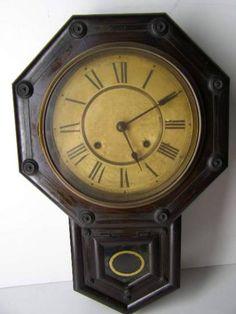 Wall Clock 骨董 アンティーク柱時計鍵付き音鳴ります Watch Antique ¥10000yen 〆07月26日