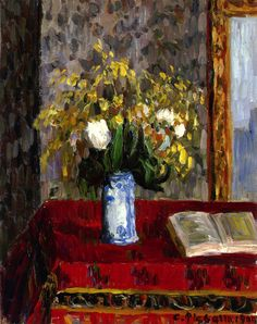 The Athenaeum - Vase of Flowers, Tulips and Garnets (Camille Pissarro - )