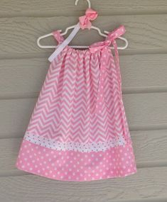 Pink and White Chevron Polka Dot Pillowcase Dress - Baby Girl Dress - Ideas of Baby Girl Dress - Pink and White Chevron Polka Dot Pillowcase Dress Pillowcase Dress Pattern, Sundress Pattern, Baby Dress Patterns, Pillowcase Dresses, Summer Patterns, Toddler Dress, Toddler Outfits, Kids Outfits, Baby Girl Pink Dress