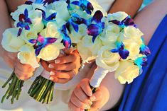 """Celebrate your love for one another with this """"Simply Sweet"""" Couple's Florida Beach Wedding Package. This beach wedding package is perfect for the Wedding Flower Photos, Beach Wedding Flowers, Flower Bouquet Wedding, Wedding Ideas, Flower Bouquets, Purple Wedding, Wedding Stuff, Blue Bouquet, Wedding Fun"""