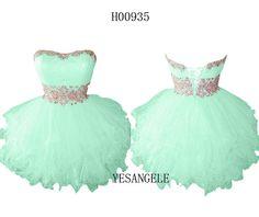 Cute Sweetheart Green Short Homecoming Dress 2014 by YESANGELE, $125.99