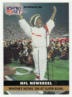 Whitney Houston # 350 - 1991 Pro Set Football I know this wasn't in the but. Whitney Houston, Beautiful Voice, Black Is Beautiful, American Singers, American History, Beverly Hills, Guinness World, People Of Interest, Hollywood