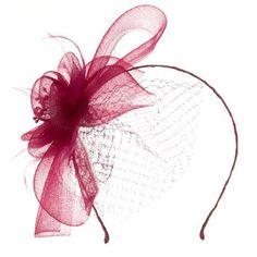 Amazon.com: Mesh Flower with Netting Ribbon Head Band - Burgundy OSFM: Clothing