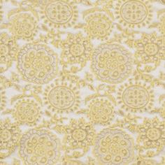 From Marc Jacobs, a classic floral brocade in the prettiest shade of aurora yellow. Satiny look and feel; medium-weight. We would sew this up into dresses, jackets, slim pants and more.