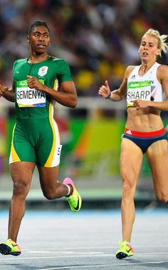 Caster Semenya and Lynsey Sharp compete in the semi-final for the women's 800m…