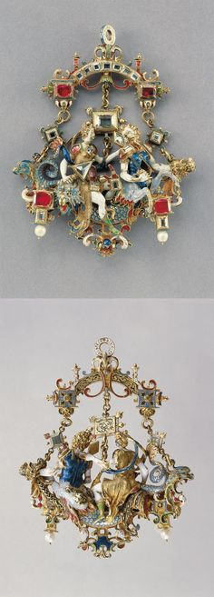 Násfa - the depiction of mythological figures (Venus Marina triumph?), around 1600 (probably), Prague, Czech, gold, diamond, pearl, ruby, enamel, height: 9.5 cm,  width: 7.5 cm