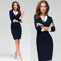 2015 Spring Latest Office Lady Clothing Brand Casual 3/4 Sleeve Knee-Length Navy Contrast Collar Bodycon Pencil Dress