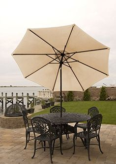 Patio Umbrella For Table 9 Ft With Aluminum Frame, Crank U0026 Tilt For Shade  In Various Colors Easy Opening And Closing Water Resistant (Blue/ Slate  Denim)