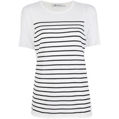 T BY ALEXANDER WANG striped t-shirt (320 AUD) ❤ liked on Polyvore featuring tops, t-shirts, shirts, blusas, white short sleeve shirt, white stripes shirt, white shirts, striped tee and t shirt