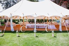 The exterior of a wedding in our Oyster Pearl tent