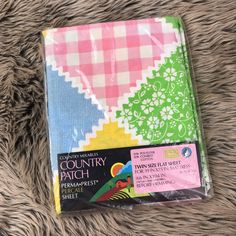 New Vtg Twin Size Flat Sheet Sears Perma Prest Percale Country Patch Pastel