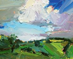 """Always another hill, always another valley that needs to be painted. """"South Coast With White Cloud"""", oil on board. Abstract Landscape Painting, Abstract Oil, Artist Painting, Landscape Art, Landscape Paintings, Knife Painting, Art Paintings, Portrait Paintings, Acrylic Paintings"""