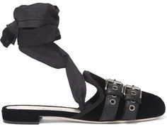 Miu Miu - Lace-up Grosgrain-trimmed Velvet Ballet Slippers - Black