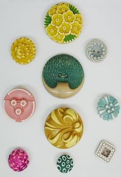 Vintage Buffed Celluloid Buttons - these buffed celluloid buttons are some of my favorites! Always get excited when I find one!!!