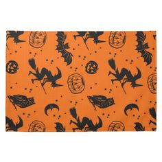 Bats and Jacks ~ orange and black Hand Towels