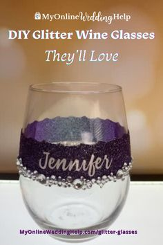 These decorated stemless wine glasses are a great handmade gift idea. Or as sealed-glitter wine glasses for a bridal shower or your wedding. Really cute for a holiday party as well. Read the step-by-step tutorial and see the full-length video only on the MyOnlineWeddingHelp.com blog. Glitter Wine Glasses, Diy Wine Glasses, Stemless Wine Glasses, Wedding Crafts, Diy Wedding, Bridal Shower, Party, Holiday, Diy Ideas