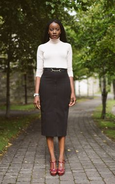 Another easy way to transition from summer into fall is to mix your summer pieces with your Autumn /fall pieces like a turtle neck/polo neck . Style Diary, Polo Neck, Pencil Skirts, High Waisted Skirt, Stylists, Cute Outfits, Turtle Neck, Touch, Fall