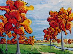 """JOHN PETERS, """"Autumn Fun,"""" Oil on Board, 18"""" x 24"""""""