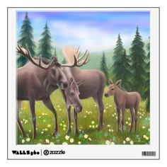 Alaskan Moose Family Wall Decal #moose #animals #art #walldecal #zazzle